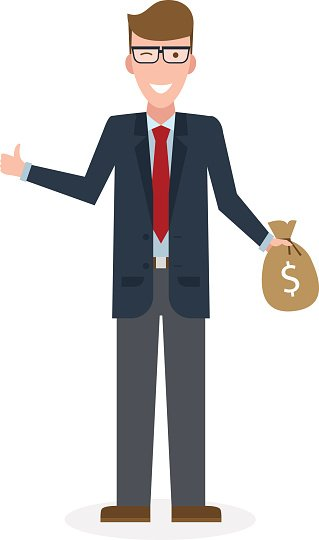 Businessman with money bag and thumb up. Clipart Image.