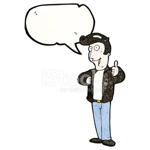 cartoon cool guy giving thumbs up symbol Clipart Image.