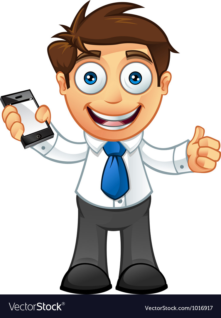 Business Man Thumbs Up With Mobile.