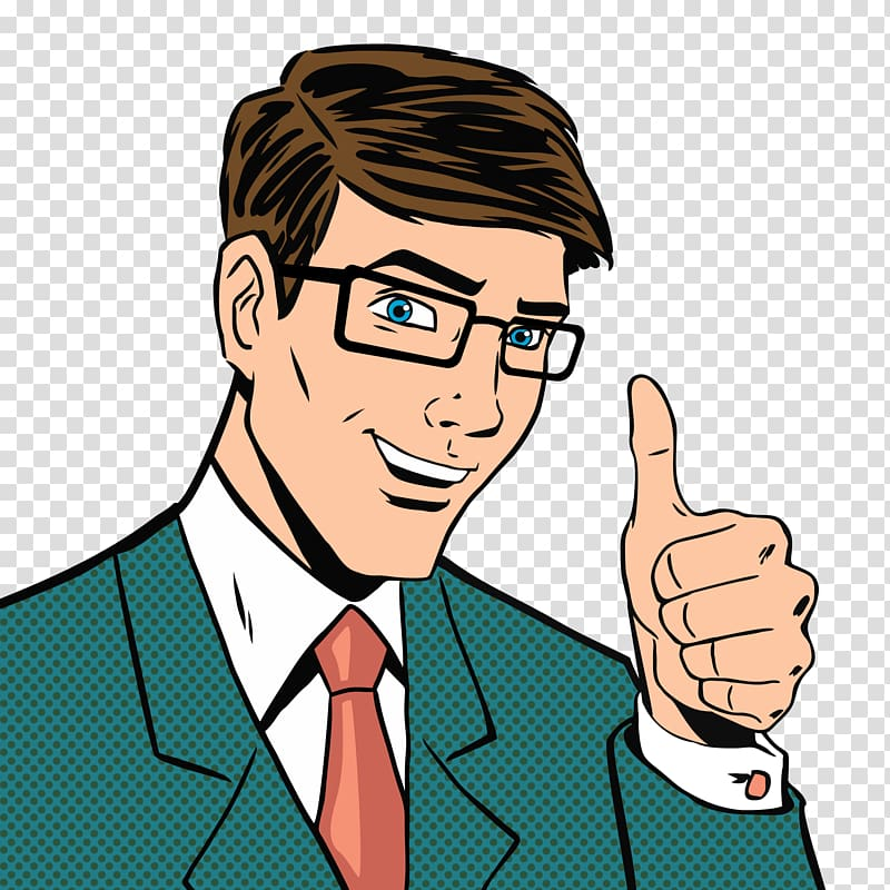 Man wearing green suit jacket showing thumbs up illustration.