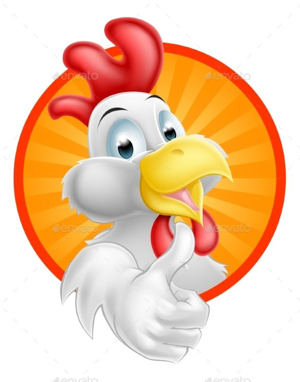 A happy funny Cartoon Rooster chicken giving a thumbs up.