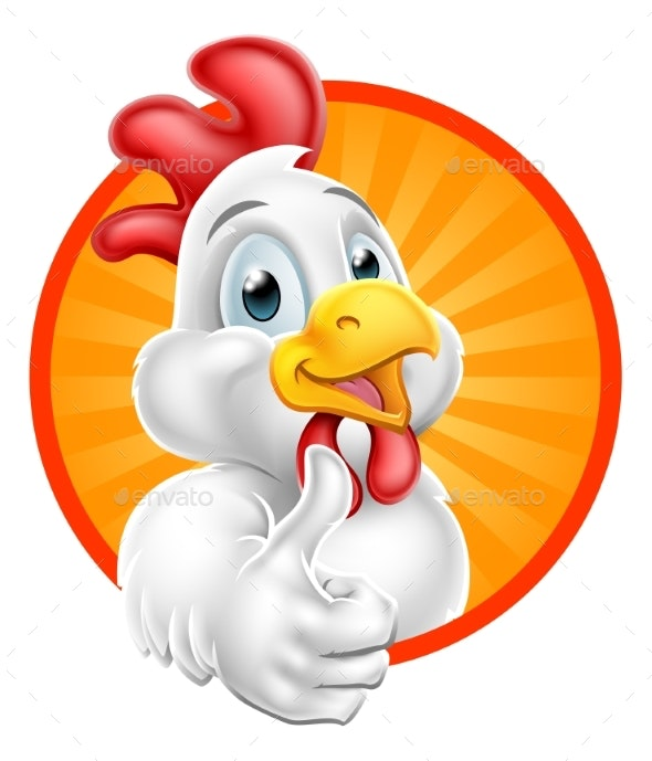 Chicken Cartoon Character Giving Thumbs Up.