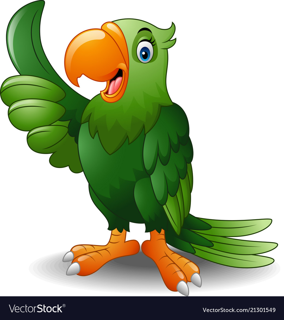 Cartoon happy parrot giving thumb up.