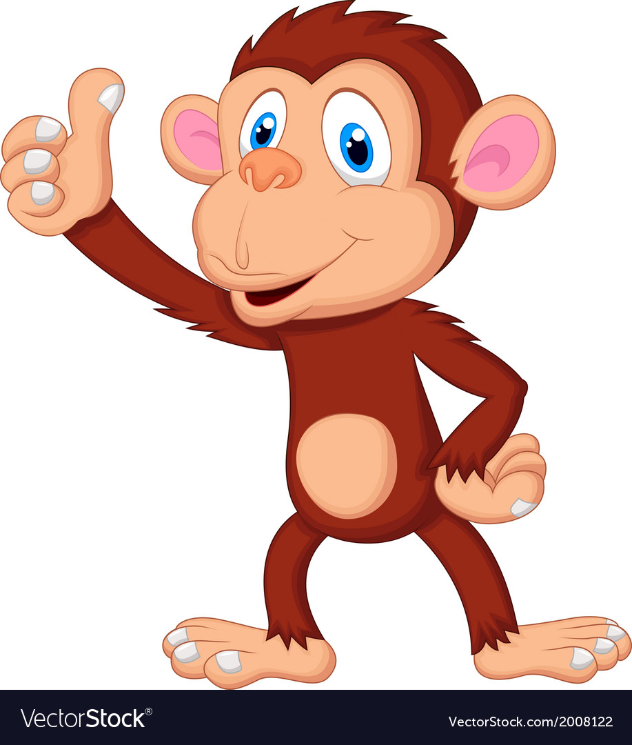 Cute monkey cartoon giving thumb up.