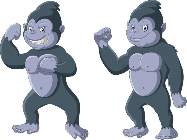 Cartoon funny gorilla standing pose Vector.