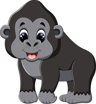 Funny gorilla cartoon Clipart Image.