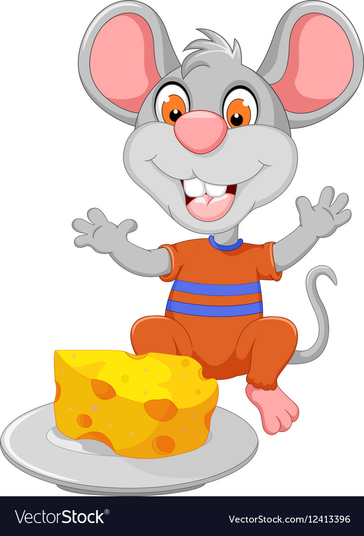 Funny mouse cartoon eating cheese.