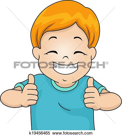 Clipart of Cartoon boy giving you thumbs up k14084861.