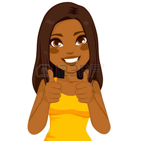 446 Thumbs Up Sign Happy Woman Stock Vector Illustration And.