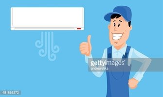 Worker Set The Air Conditioner and Show Thumb UP stock.