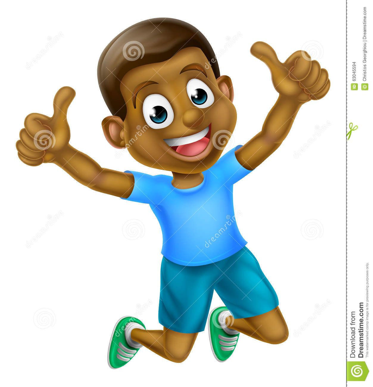 Photo about A happy cartoon young black boy jumping for joy.