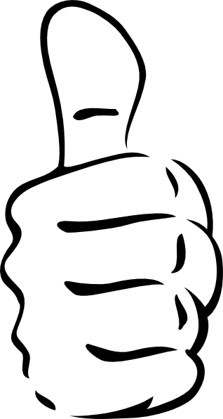 thumb clipart black and white.