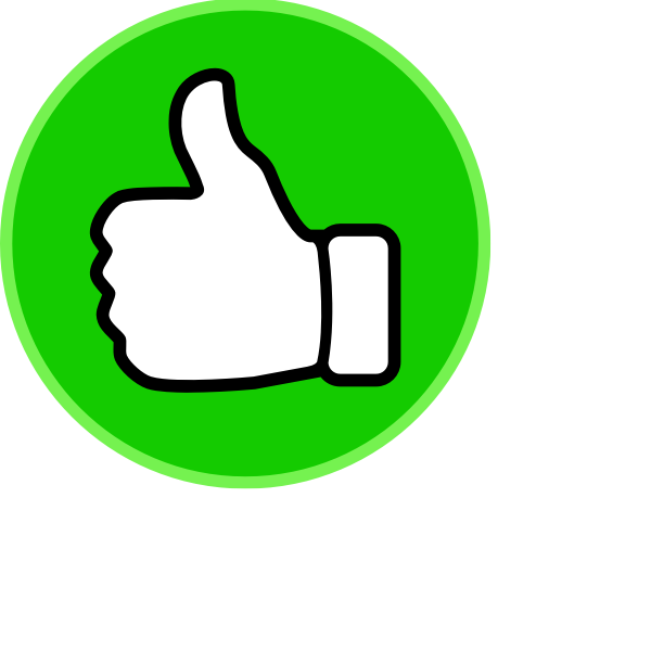 Vector clip art of thumbs up in a green circle.