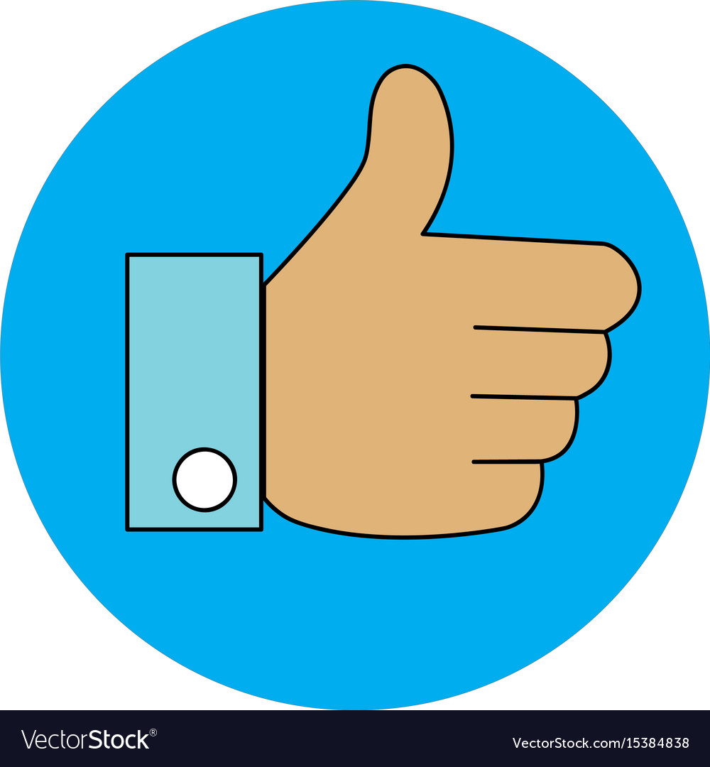 Thumb up like with blue circle on white background.