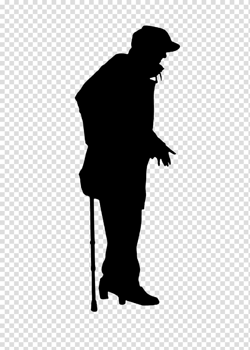 Silhouette man on crutches transparent background PNG.
