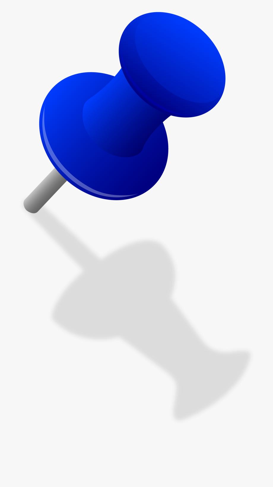 Blue Thumbtack In Wall.
