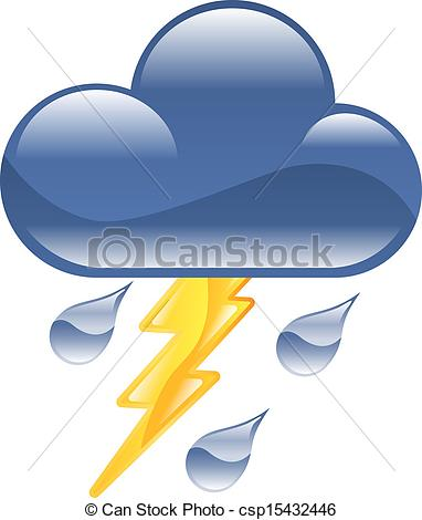 EPS Vector of Weather icon clipart lightning thunder storm.