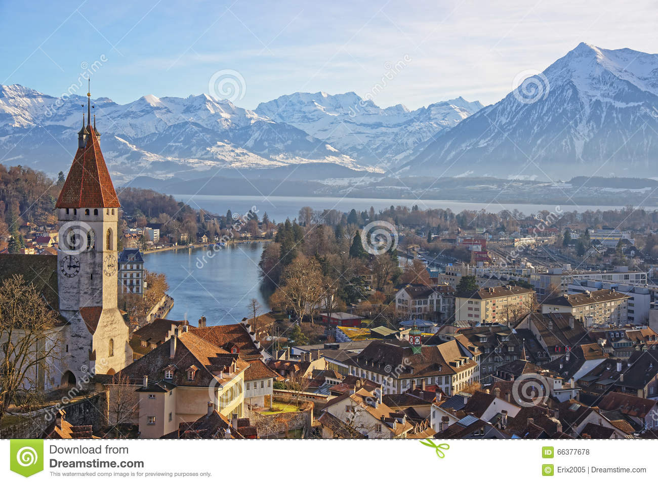 Panorama Of Thun Church And Town With Alps And Thunersee Stock.