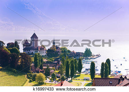 Stock Photo of Spiez castle on Thun lake k16997433.