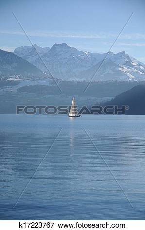 Picture of Lake Thun With Mountain View k17223767.
