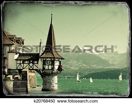 Stock Photography of Roaman tower of the famous Oberfofen castle.