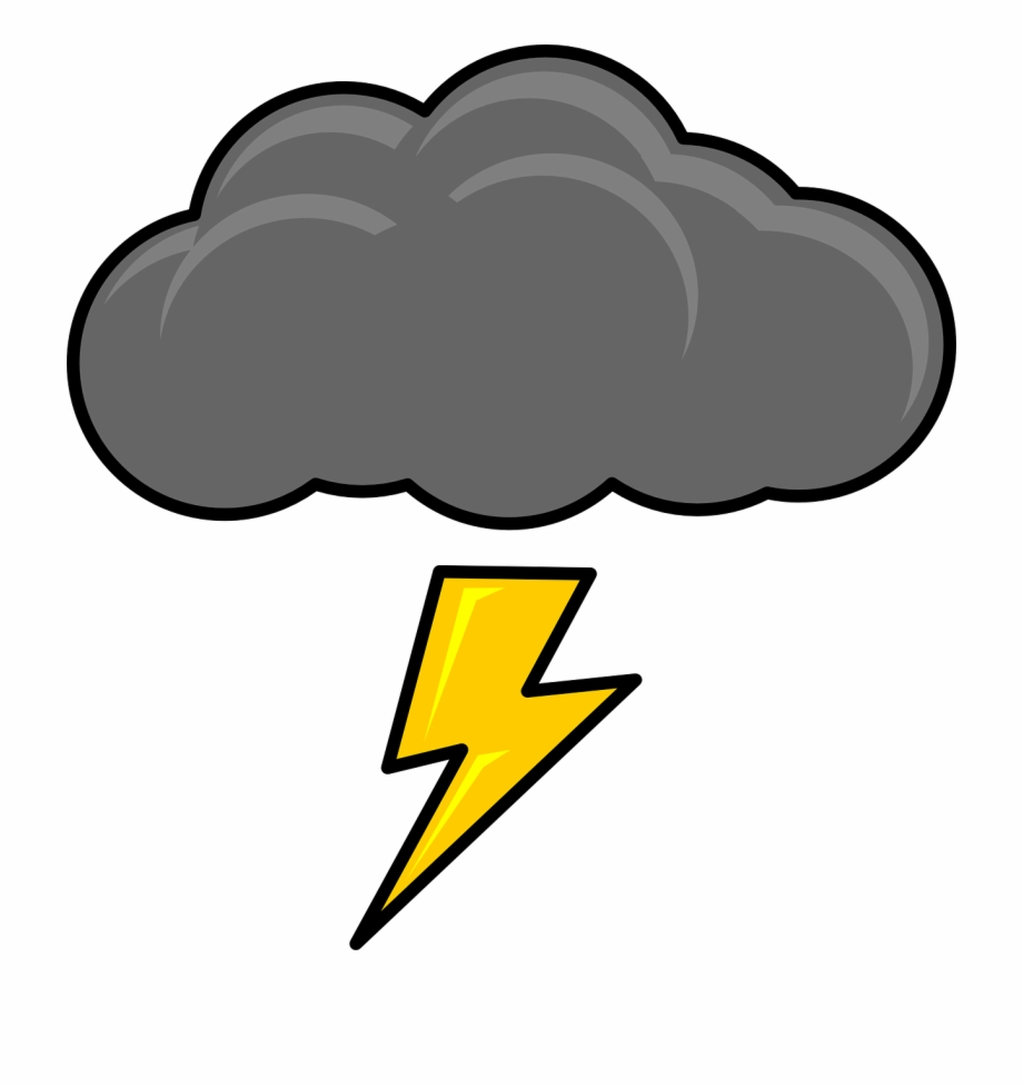 Cloud With Lightning Bolt Clip Art.