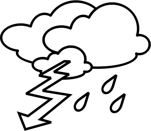 thunder clipart black and white