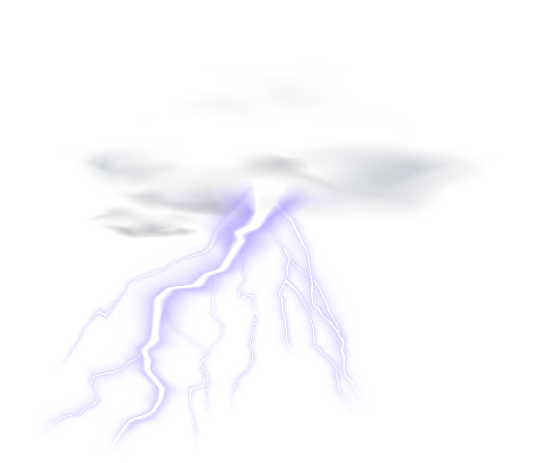 Lightning Cloud Transparent Clip Art PNG Image.