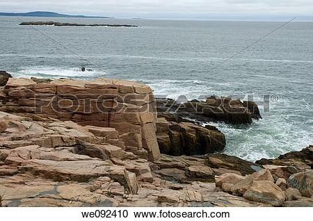 Stock Photography of Shoreline near Thunder Hole, Acadia Nat Park.