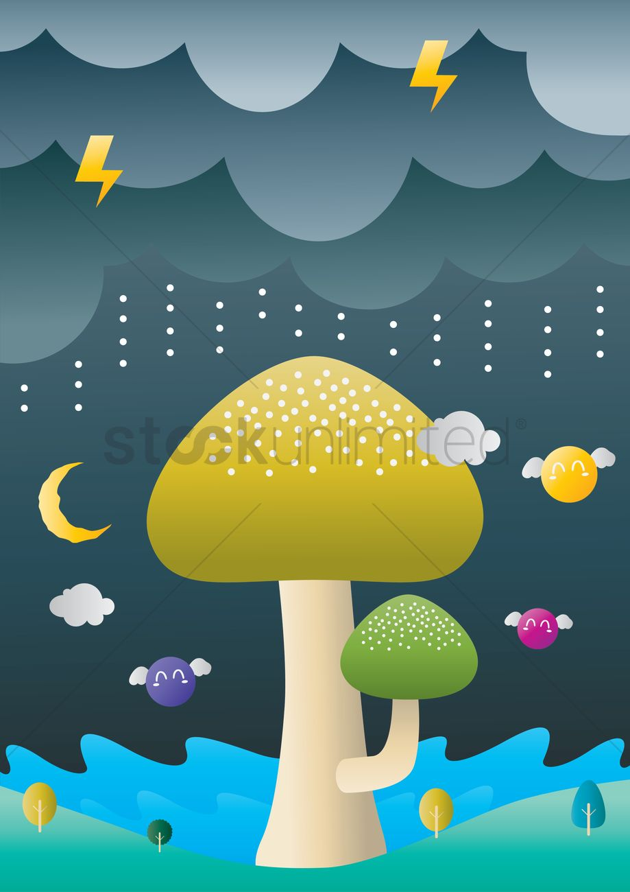 Mushrooms and rainy weather Vector Image.