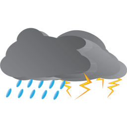 Rain And Thunderstorm Icon, PNG ClipArt Image.