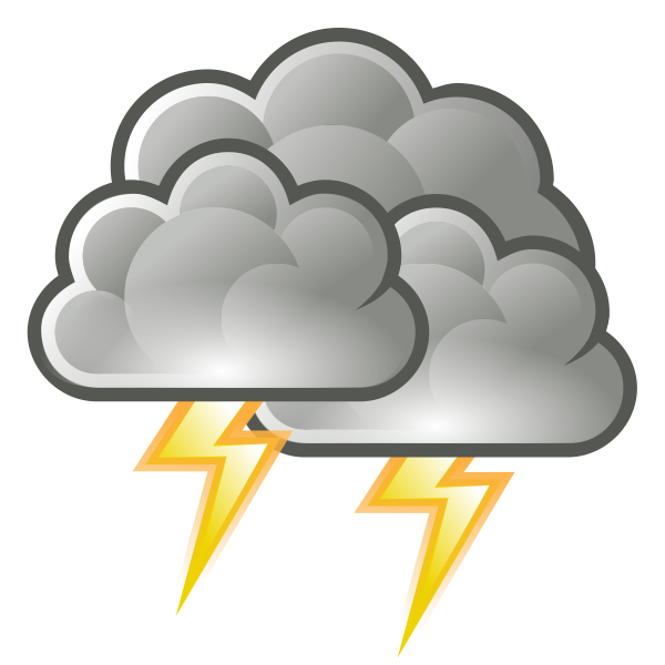 Color weather forecast icon for thunder vector clip art.