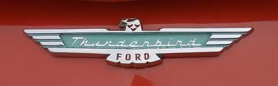 1950\'s FORD Thunderbird logo with script font indentity.