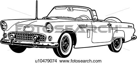 Clipart of , 1956, automobile, car, classic, ford, sport.