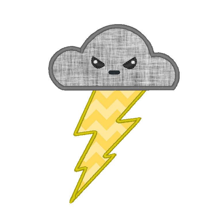Lightning Bolt Thunder Cloud Applique Embroidery Design.