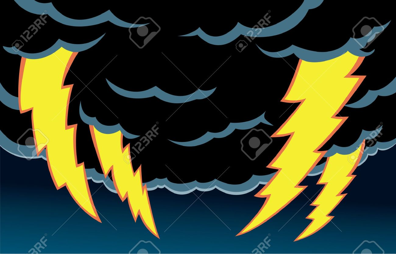 Cartoon Of Thunder Clouds With Scary Lightning. Royalty Free.