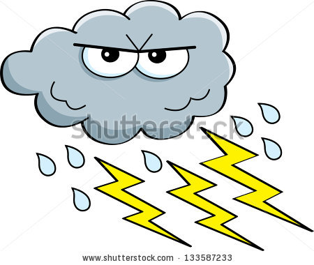Cartoon Illustration Storm Cloud Rain Lightning Stock Vector.