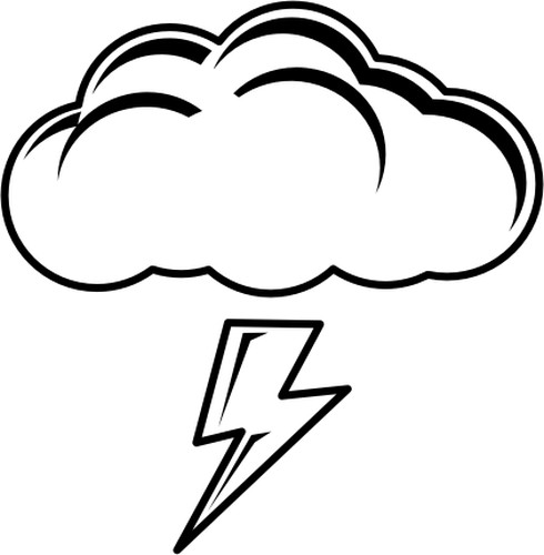 Graphics of black and white thundering day sign.