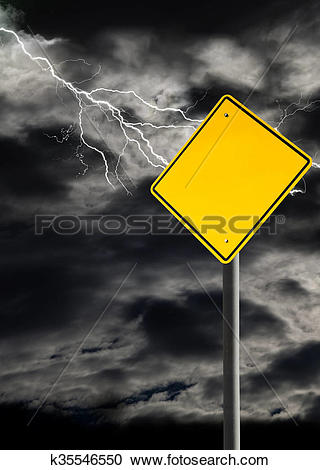 Stock Photography of Empty Warning Sign Against Cloudy and.