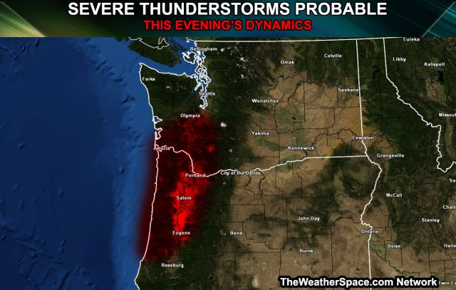 Severe Thunderstorms Probable for Western Oregon to Southwest.
