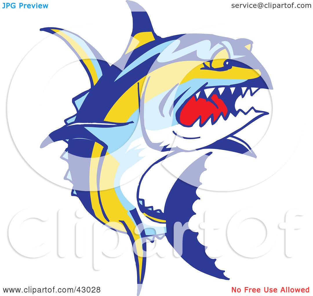 Clipart Illustration of a Tough Yellowfin Tuna Fish (Thunnus.