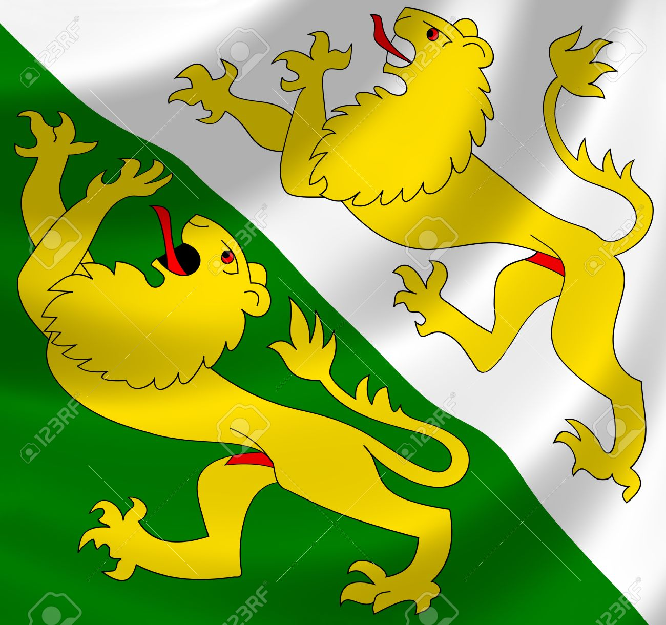 Swiss Canton Of Thurgau Flag Waving In The Wind Detail Stock Photo.
