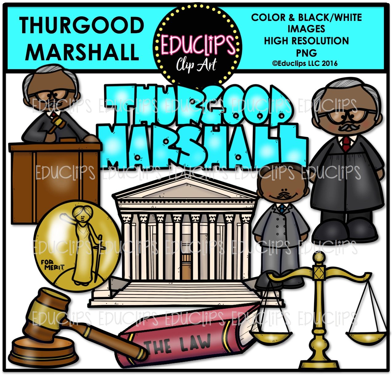 Thurgood Marshall Clip Art Bundle (Color and B&W).