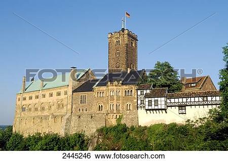 Stock Images of German flag fluttering on castle, Wartburg Castle.