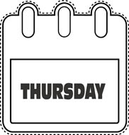 Thursday Calendar Clipart.