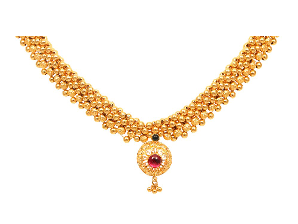 Gold Bead Design With Floral Pendant Thushi Necklace.