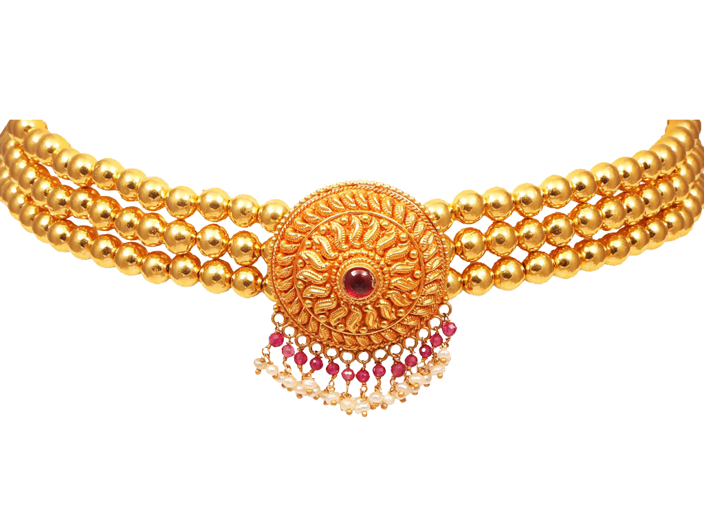 Gold Beads With Center Drop Colour Stone Floral Pendant.