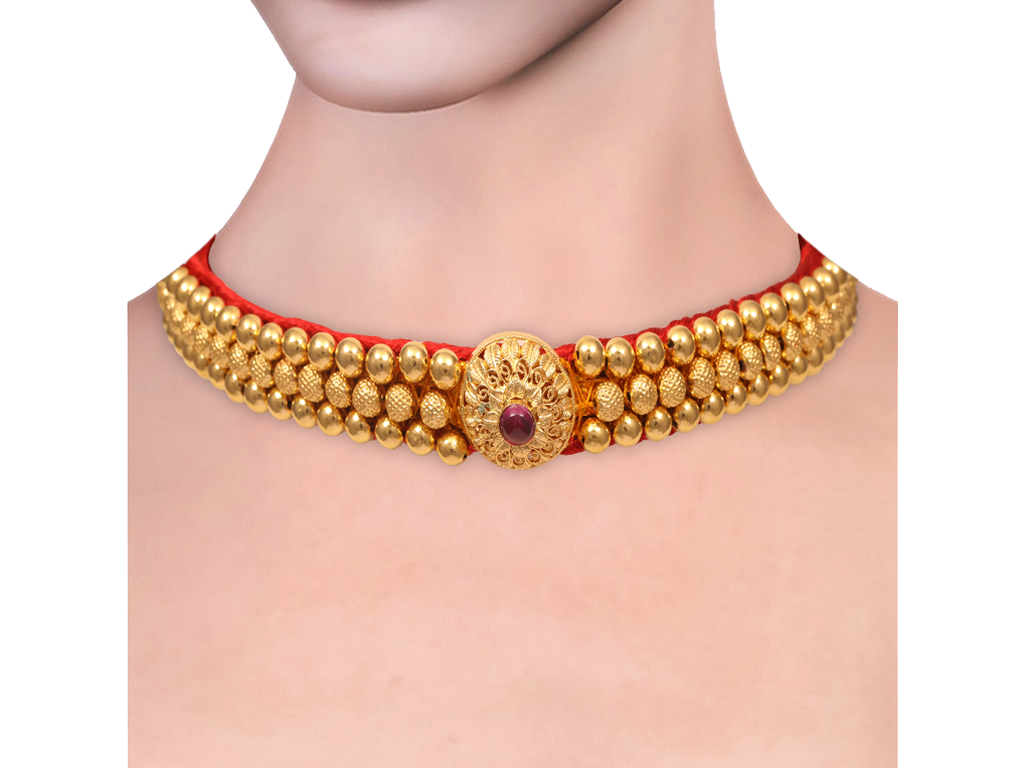 Gold Beads Design With Thread Thushi.
