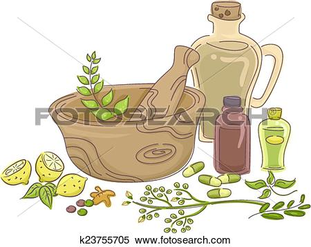 Clipart of Herbal Medicine k23755705.