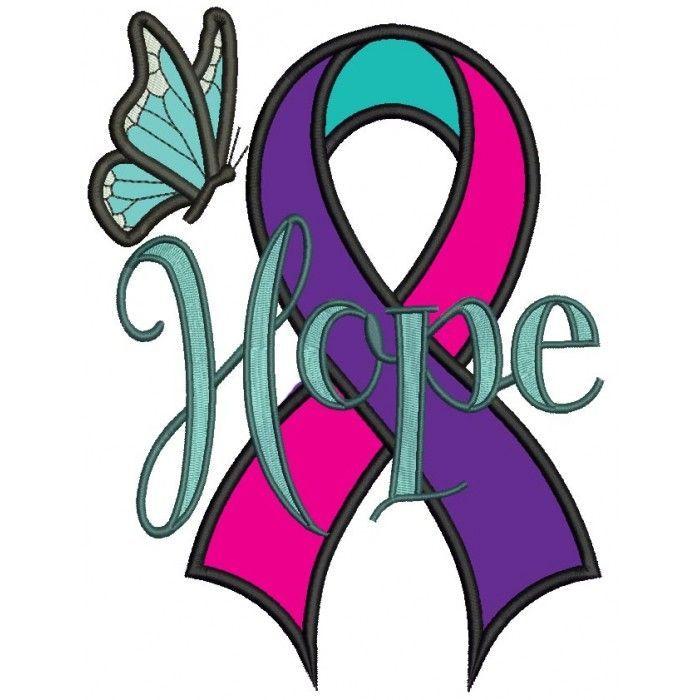 Hope Thyroid Cancer Awareness Ribbon Applique Machine.